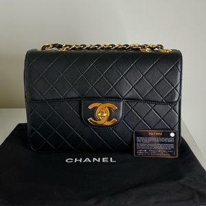 Chanel Vintage Jumbo Single Flap Bag In Lambskin